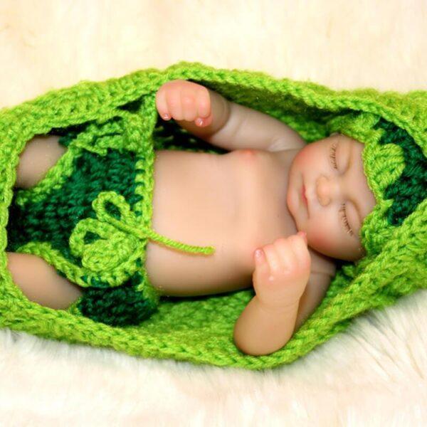 "Carter: 10"" Mini baby Boy Doll in Green Cradle - Kiss Reborn"