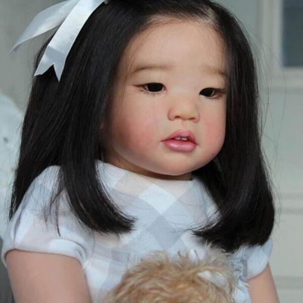 Edda: Asian Style Cute Hair Band Open Mouth Reborn Toddler Doll Girl - Kiss Reborn