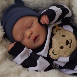 "Liam: 17.5"" Sleeping Full Vinyl Body Baby Doll Boy - Kiss Reborn"