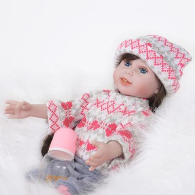 "Janice: 12"" Brown Long Hair Life-like Feel Mini Baby Doll Girl - Kiss Reborn"