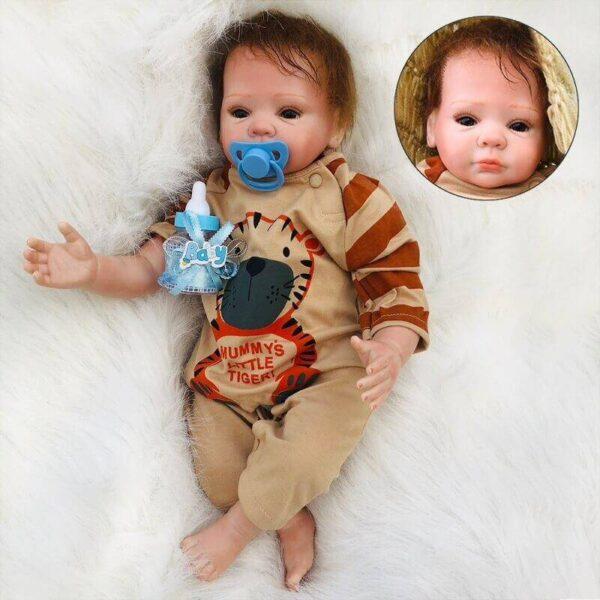 """Riley: 18"""" Brown Eyes Sweetest Realistic Newborn Baby Boy Doll - Kiss Reborn"""