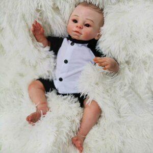"Joey: 18"" Brown Hair Premium Reborn Baby Boy Toddler Doll - Kiss Reborn"