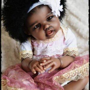 Merry: Curly Hair Black Skin African American Reborn Girl - Kiss Reborn