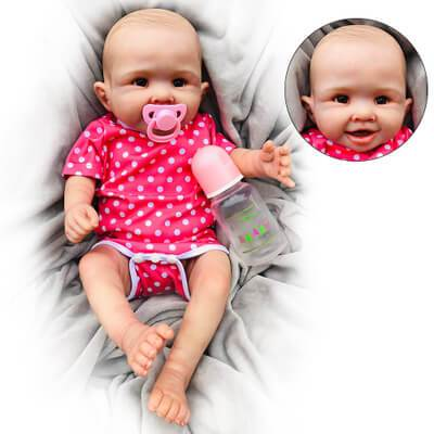 Lucy: Brown Eyes Reborn Baby Girl for Age 14+ - Kiss Reborn