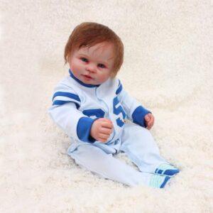 """Tim: 20"""" Hand Set Big Blue Eyes Realistic Silicone Baby Doll Boy - Kiss Reborn"""