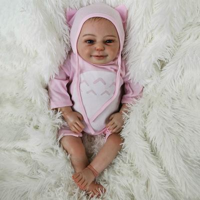 Amber: Cute Cloth Body Reborn Baby Doll Girl - Kiss Reborn
