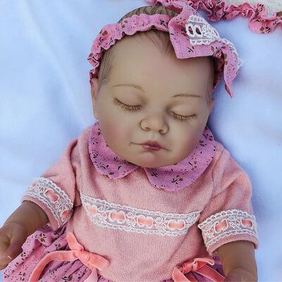 "Ada: 20"" Sleeping Quiet Chubby Silicone Baby Doll Girl - Kiss Reborn"