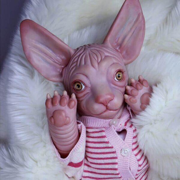 "20"" Yellow Eyes Reborn Sphynx Cat Baby Doll - Kiss Reborn"