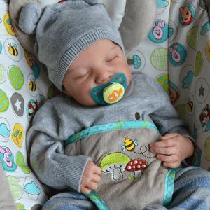 "Geoff: 22"" Partial Vinyl Sleeping Real Infant Doll Boy - Kiss Reborn"