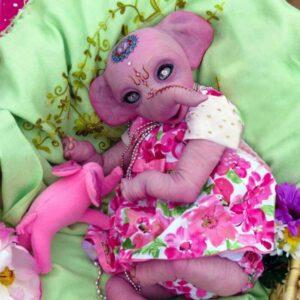 Melinda: Long Trunk Pink Body Elephant Newborn Baby Doll - Kiss Reborn