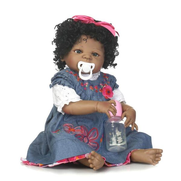 """22"""" Curly Hair Lifelike Black African American Doll Belle with Pacifier - Kiss Reborn"""