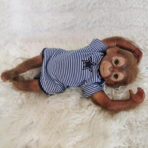 "Alexander: 20"" Green Eyes Cheeky Cute Monkey Baby Doll - Kiss Reborn"