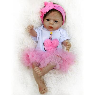 "Carolyn: 22"" Sweet Timid Dark Eyes Reborn Baby Doll Girl - Kiss Reborn"