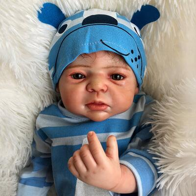 Ethan: Full Vinyl Lovely Liquid Amber Eyes Reborn Baby Doll Boy - Kiss Reborn