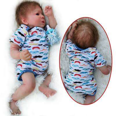 Fabian: Partial Vinyl Cloth Body Open Mouth Baby Doll Boy - Kiss Reborn