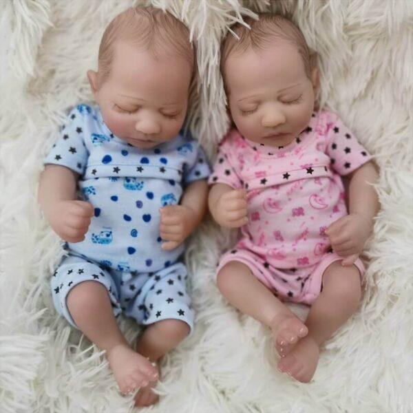 """Cora & Cosmo: 10"""" Sleeping Mini Cute Twin Reborn Baby Doll - Kiss Reborn"""