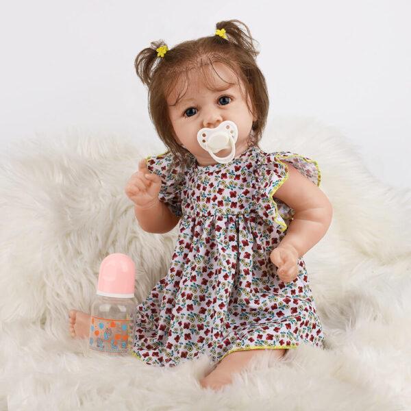 18 Inch Fashion Short Hair Lifelike Reborn Baby Doll with Big Eyes 3