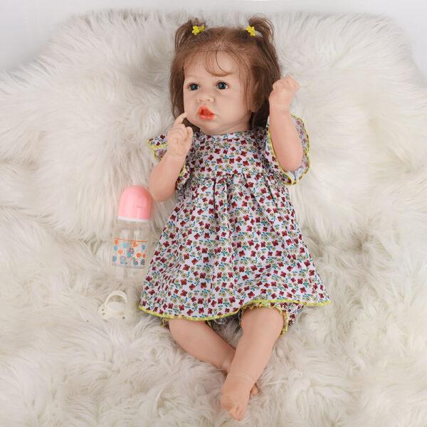 18 Inch Fashion Short Hair Lifelike Reborn Baby Doll with Big Eyes 4
