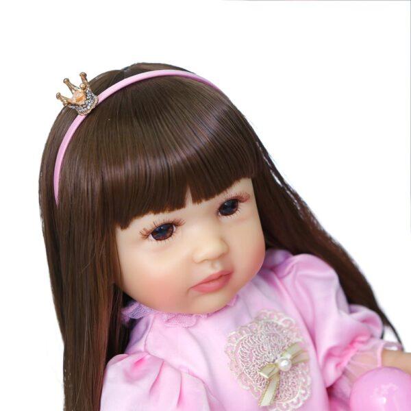 NPK 55CM original full body silicone bebe doll reborn toddler girl princess doll in pink dress 1