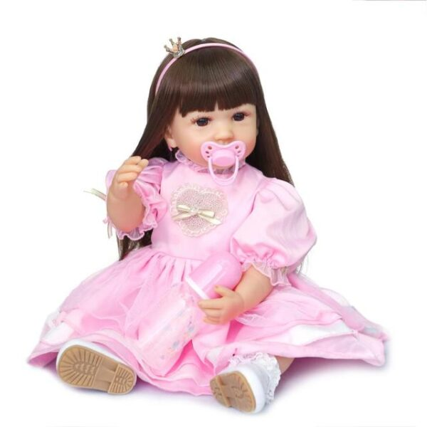 NPK 55CM original full body silicone bebe doll reborn toddler girl princess doll in pink dress 1.jpg 640x640 1
