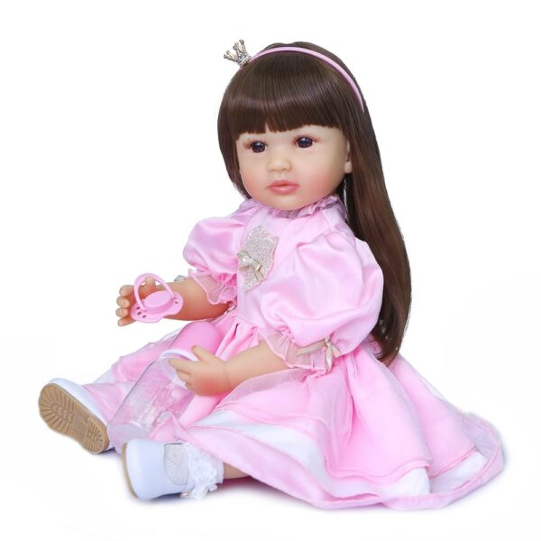 NPK 55CM original full body silicone bebe doll reborn toddler girl princess doll in pink dress 2