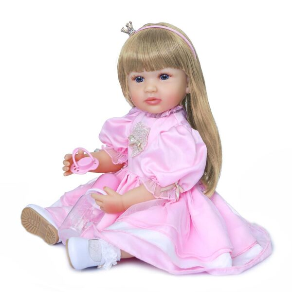 NPK 55CM original full body silicone bebe doll reborn toddler girl princess doll in pink dress 3