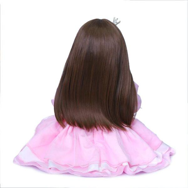 NPK 55CM original full body silicone bebe doll reborn toddler girl princess doll in pink dress 4