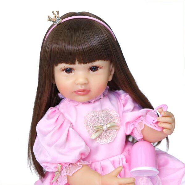 NPK 55CM original full body silicone bebe doll reborn toddler girl princess doll in pink dress 5