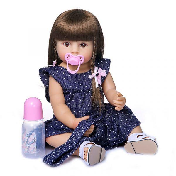55CM original NPK reborn baby toddler gir very soft full body silicone doll bath toy 1