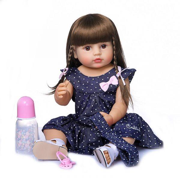 55CM original NPK reborn baby toddler gir very soft full body silicone doll bath toy 2