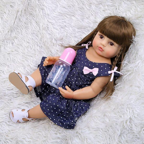 55CM original NPK reborn baby toddler gir very soft full body silicone doll bath toy 5