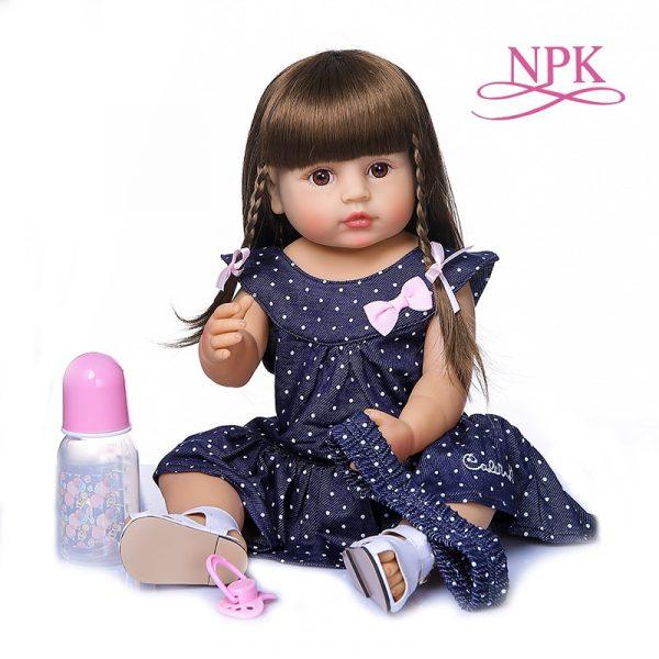55CM original NPK reborn baby toddler gir very soft full body silicone doll bath toy